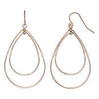 Rose Gold Tone Nickel Free Double Teardrop Earrings