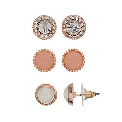 Rose Gold Nickel Free Stud Earring Set