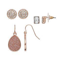 Rose Gold Nickel Free Stud & Drop Earring Set