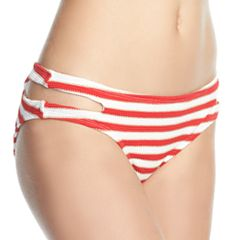 Mix and Match Textured Stripe Cutout Scoop Bikini Bottoms