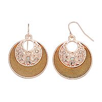 Brown Cutout Disc Nickel Free Drop Earrings