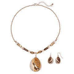 Brown Colorblock Teardrop Pendant Necklace & Drop Earring Set