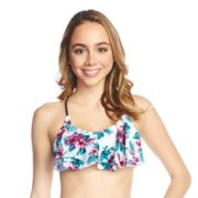 Mix and Match Floral Macrame Flounce Bikini Top
