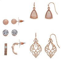 Stud, Semi-Hoop & Drop Earring Set