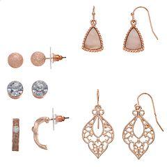 Stud, Semi-Hoop & Drop Earring Set