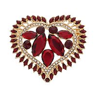 Napier Stone Cluster Heart Pin