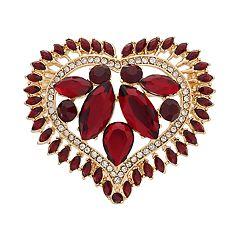 Napier Stone Cluster Heart Pin