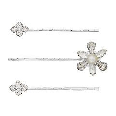 Flower & Simulated Crystal Cluster Bobby Pin Set