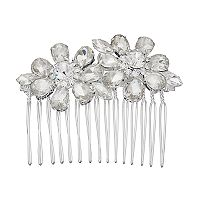 Simulated Crystal Flower Wide Hair Comb