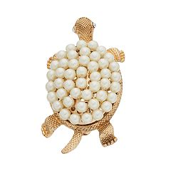 Napier Simulated Pearl Textured Turtle Pin