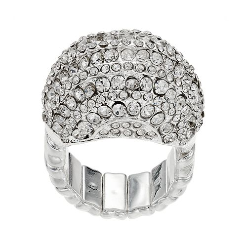 Pave Oval Dome Stretch Ring