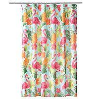 Celebrate Summer Together Flamingo Shower Curtain