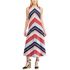 Petite Chaps Striped Sleeveless Maxi Dress
