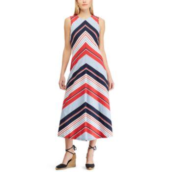 Petite Chaps Striped Sleeveless Maxi Dress