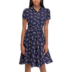 Petite Chaps Floral Belted Fit-and-Flare Shirt Dress