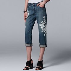 Women's Simply Vera Vera Wang Floral Embroidered Boyfriend Jeans
