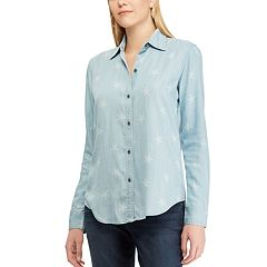 Petite Chaps Star Chambray Shirt