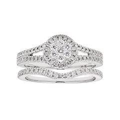 Lovemark 10k White Gold 1/2 Carat T.W. Diamond Halo Engagement Ring Set