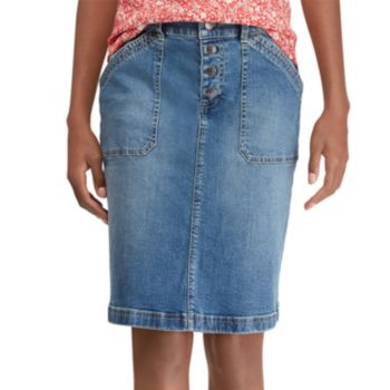Petite Chaps Stretch Denim Skirt