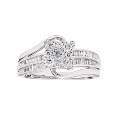 Lovemark 10k White Gold 3/4 Carat T.W. Diamond Cluster Ring