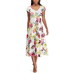 Petite Chaps Floral-Print Cap Sleeve Dress