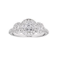 Lovemark 10k White Gold 1 Carat T.W. Diamond Cluster Ring