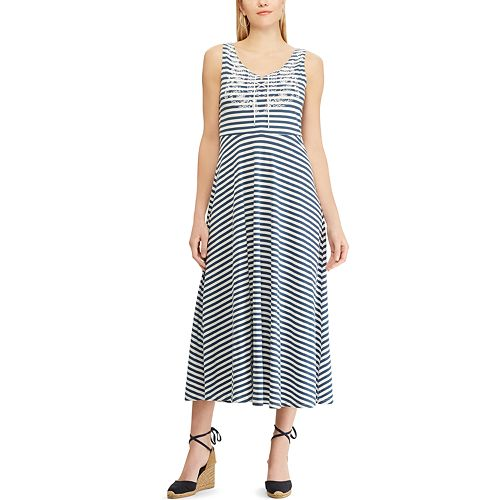Petite Chaps Striped Jersey Dress