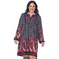 Plus Size White Mark Paisley Embroidered Sweaterdress