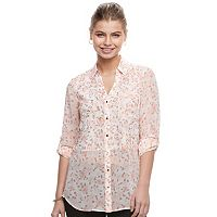 Juniors' Candie's® Leaf Split-Back Shirt