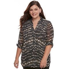 Juniors' Plus Size Candie's® Print Split-Back Hem Blouse