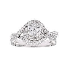 Lovemark 10k White Gold 1 Carat T.W. Diamond Tiered Cluster Ring