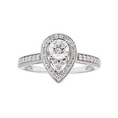 Lovemark 10k White Gold 3/4 Carat T.W. Diamond Teardrop Halo Ring