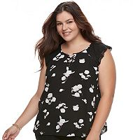 Juniors' Plus Size Candie's® Floral Lace-Up Flutter Top