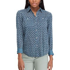 Petite Chaps Printed Button Down Shirt