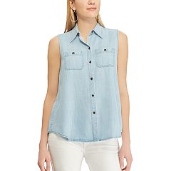 Petite Chaps Sleeveless Chambray Shirt
