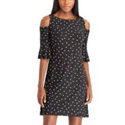 Women's Chaps Dot Cold-Shoulder Dress