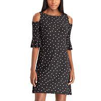 Women's Chaps Dot Cold-Shoulder Dress
