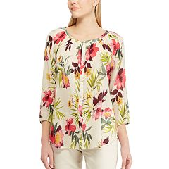 Petite Chaps Tropical Floral-Print Top