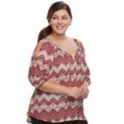 Juniors' Plus Size Liberty Love Print Cold-Shoulder Peasant Top