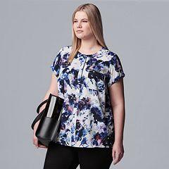 cf38d771 Shirt. (31) · Plus Size Simply Vera Vera Wang Essential Popover Top