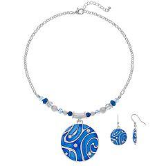 Blue Swirl Disc Pendant Necklace & Nickel Free Drop Earring Set