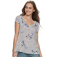 Juniors' SO® Printed Cross-Back Tee
