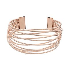 Textured Crisscross Wire Multi Row Cuff Bracelet