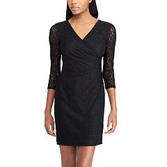 Petite Chaps Lace Surplice Faux-Wrap Dress