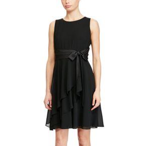 Petite Chaps Georgette Fit & Flare Dress