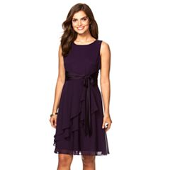 Petite Chaps Georgette Fit & Flare Dress