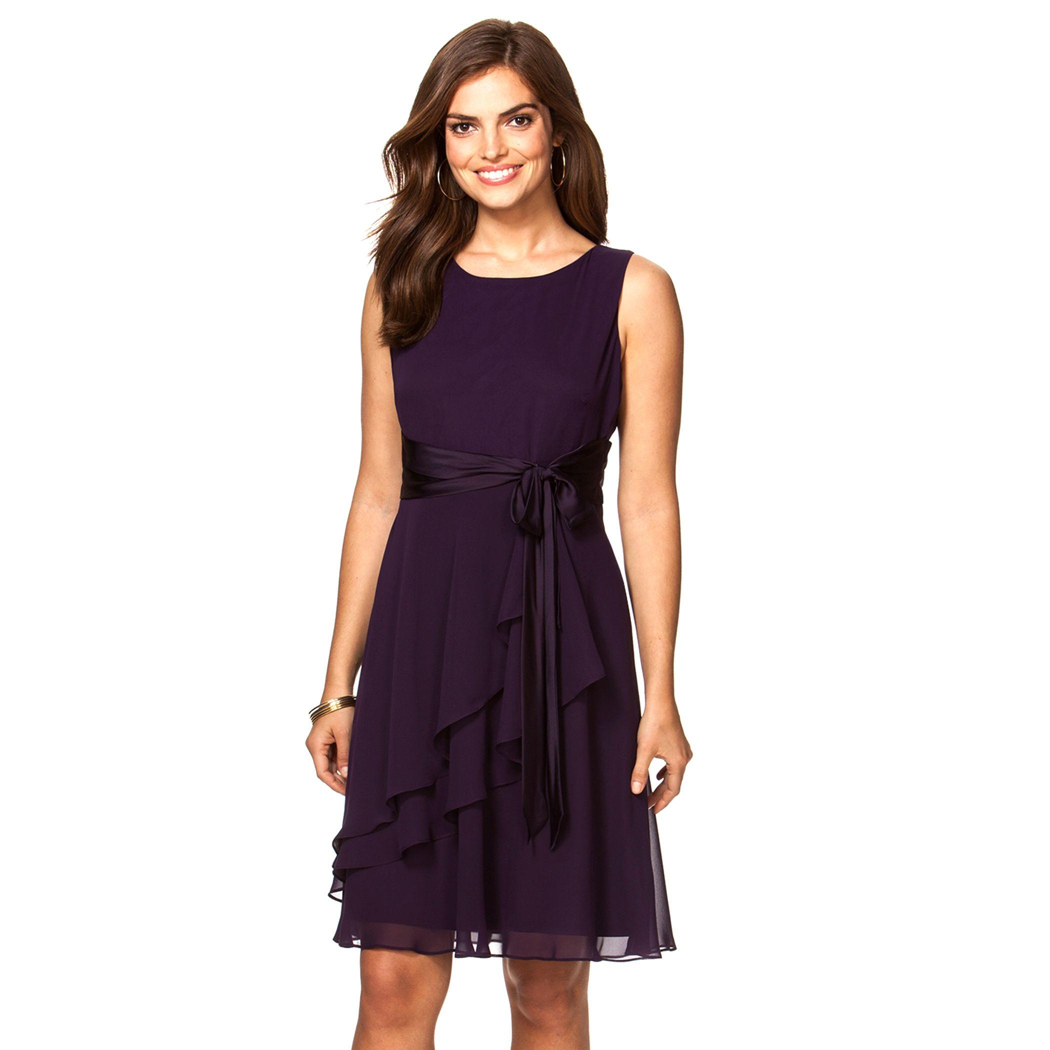 Delightful Petite Chaps Georgette Fit U0026 Flare Dress. Black Navy Purple