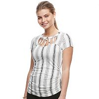 Juniors' Candie's® Cut-Out Ladder Neckline Top