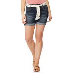 Juniors' Wallflower Luscious Curvy Tie Belt Midi Shorts