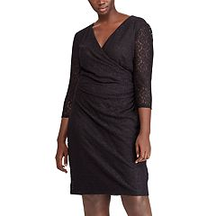 Plus Size Chaps Lace Surplice Faux-Wrap Dress